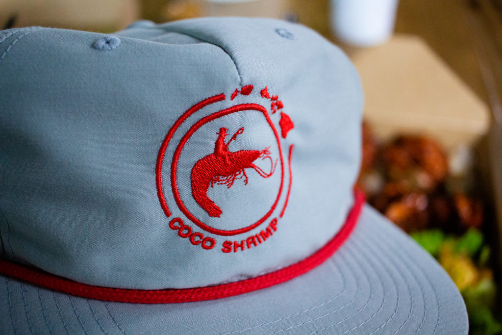 Hat with Shrimp in the background.
